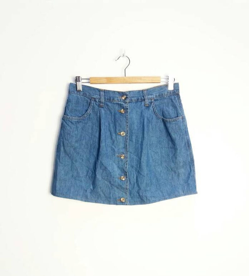 009fcedde0 Denim Button Down Mini-Skirt Vintage Blue Denim Button Front