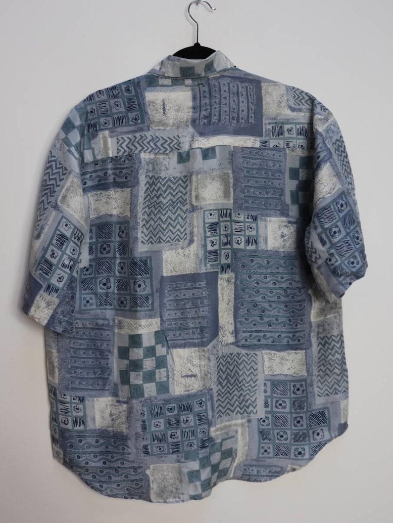 Blue Patterned Silk Shirt Vintage Silk Short Sleeve Shirt Patterned Silk Button Down Shirt Medium Men/'s Silk Shirt Vintage Button Down Silk