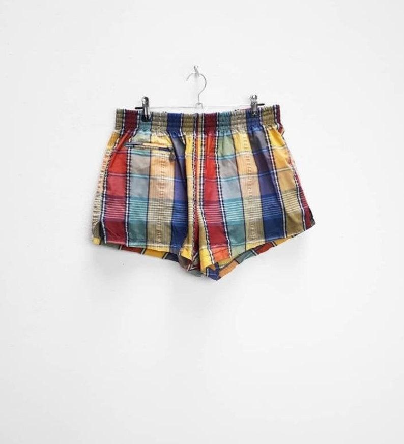 Plaid Shorts Vintage Colourful Check Shorts Women/'s Medium Plaid Pattern Comfy Shorts Vintage Sport Shorts Ladies Medium Plaid Sports Shorts