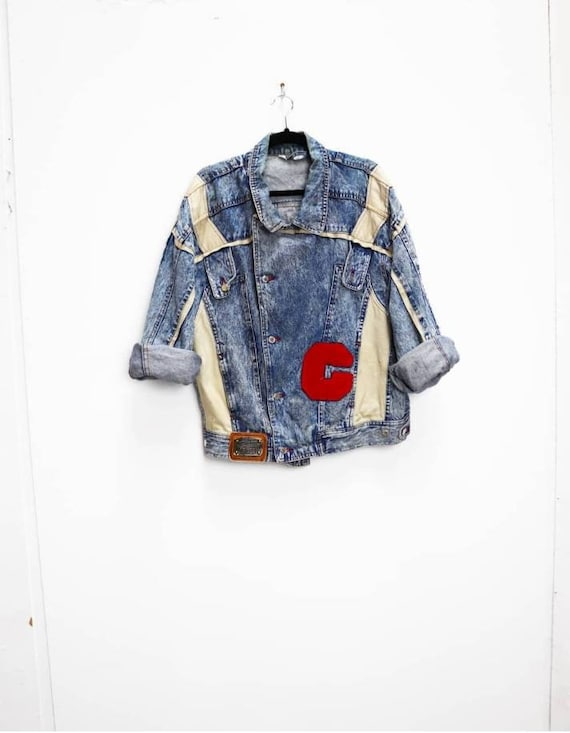 Acid-Wash Denim Jacket Vintage Blue Denim Jacket X