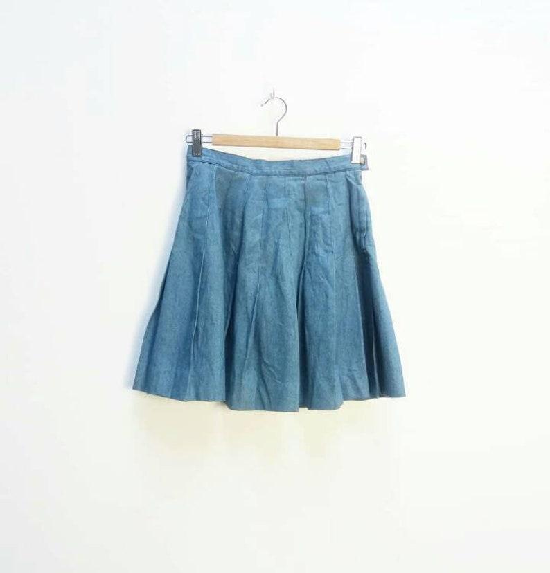 70fdd48872 Pleated Denim Skirt Vintage Blue Pleat Denim Mini Skirt High   Etsy