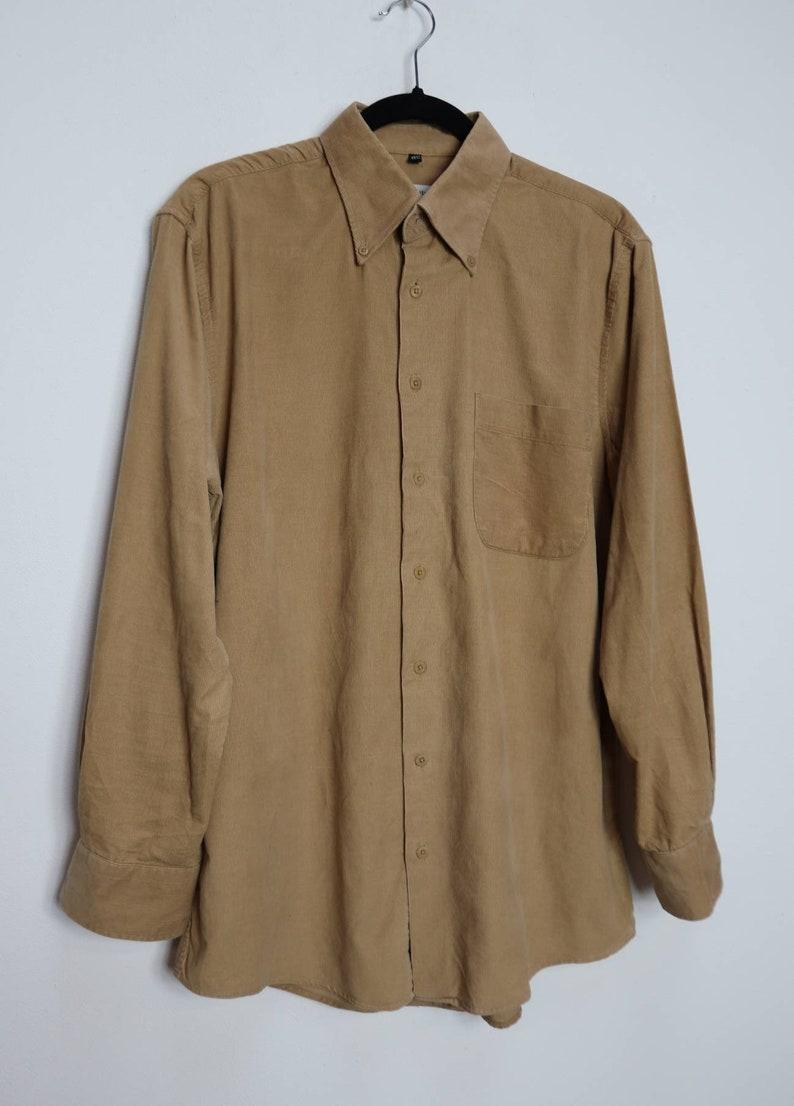 Tan Corduroy Shirt Vintage Cord Shirt Corduroy Button-Down Shirt Medium Men/'s Cord Button Down Shirt Vintage Tan Corduroy Button Up Shirt M