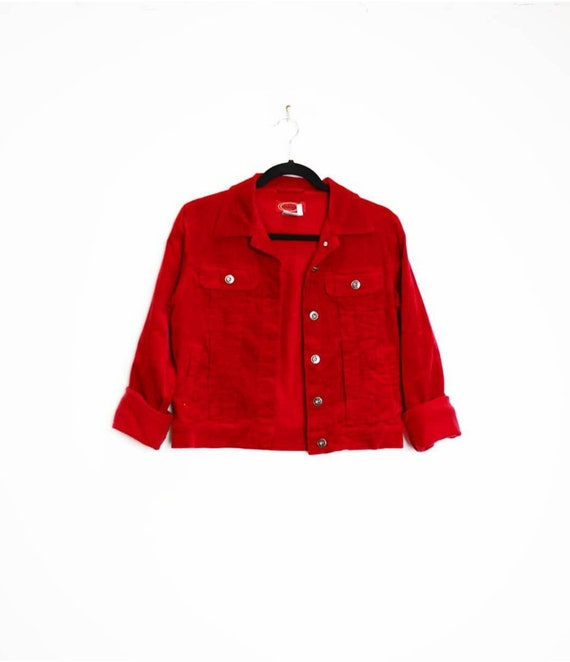 Red Corduroy Jacket Vintage Cord Jacket Small Cord