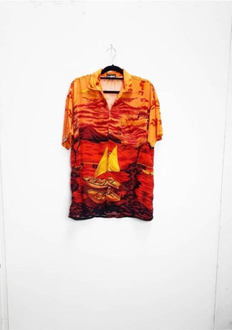 Island Sunset Patterned Shirt Vintage Island Patterned Button Down Shirt Vintage Orange Boat Patterned Short Sleeve Shirt Large Island Shirt