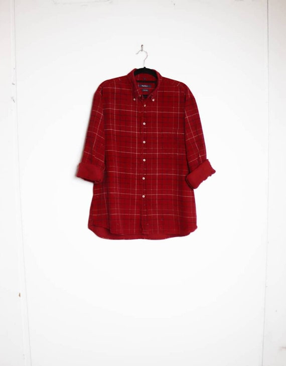 Red Check Corduroy Shirt Vintage Checkered Cord Shirt Vintage Medium Corduroy Button Down Shirt Red and Black Cord Button Up Long Sleeve M