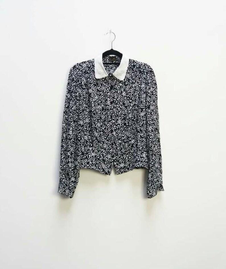 fd497da3d0f Floral Blouse Vintage Lace Collar Shirt Women s Swirl
