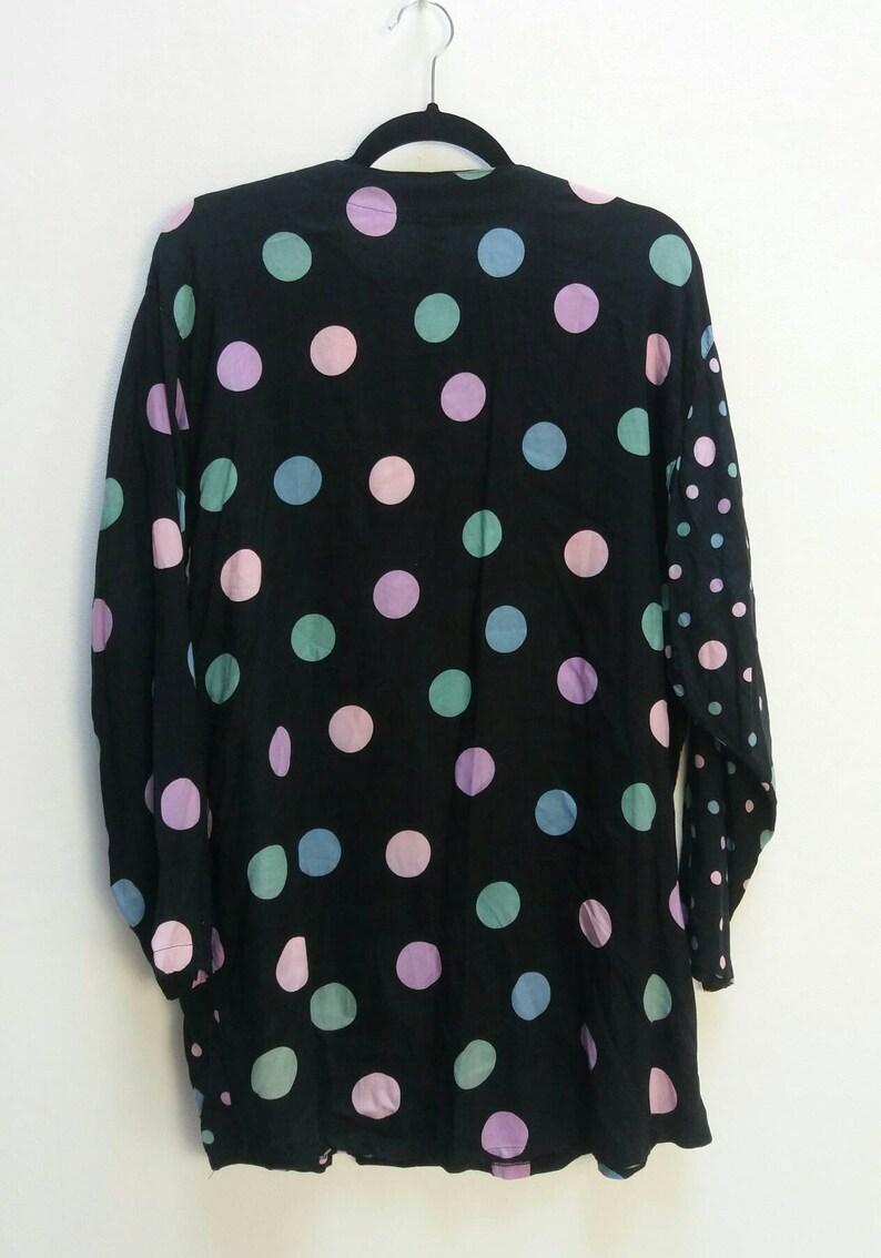 3c1d1aa0244f92 Polka Dot Shirt Dress Vintage Button Up Long Shirt Oversize | Etsy