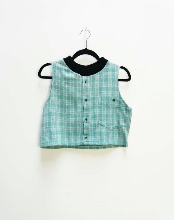 956f623735e59 Plaid Crop Top Vintage Button Up Crop Top Turquoise Checkered