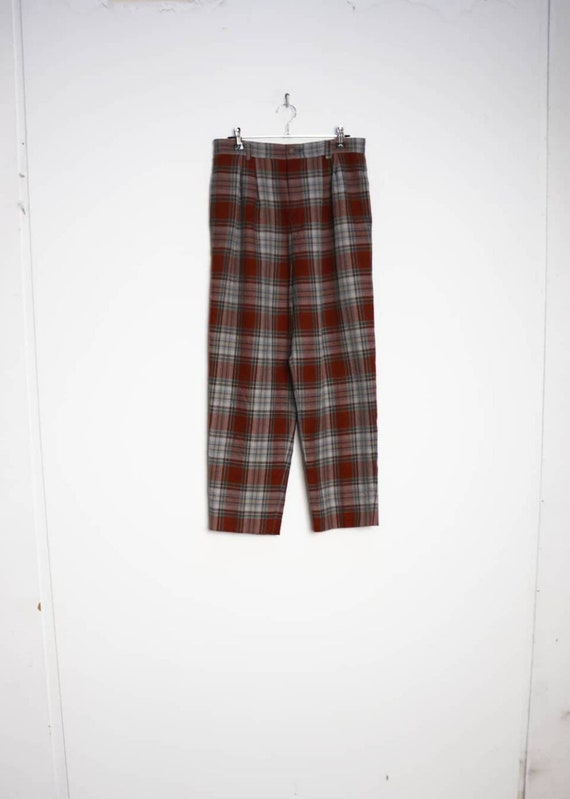 Red Plaid Trousers Vintage Grey Checkered Trousers