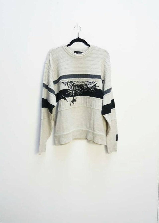 Lizard Jumper Vintage Reptile Sweater Embroidered Jumper Knit  d994f0944