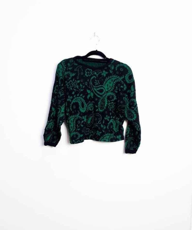 a39d8c5fb46 Paisley Cropped Jumper Vintage Floral Cropped Sweater Green