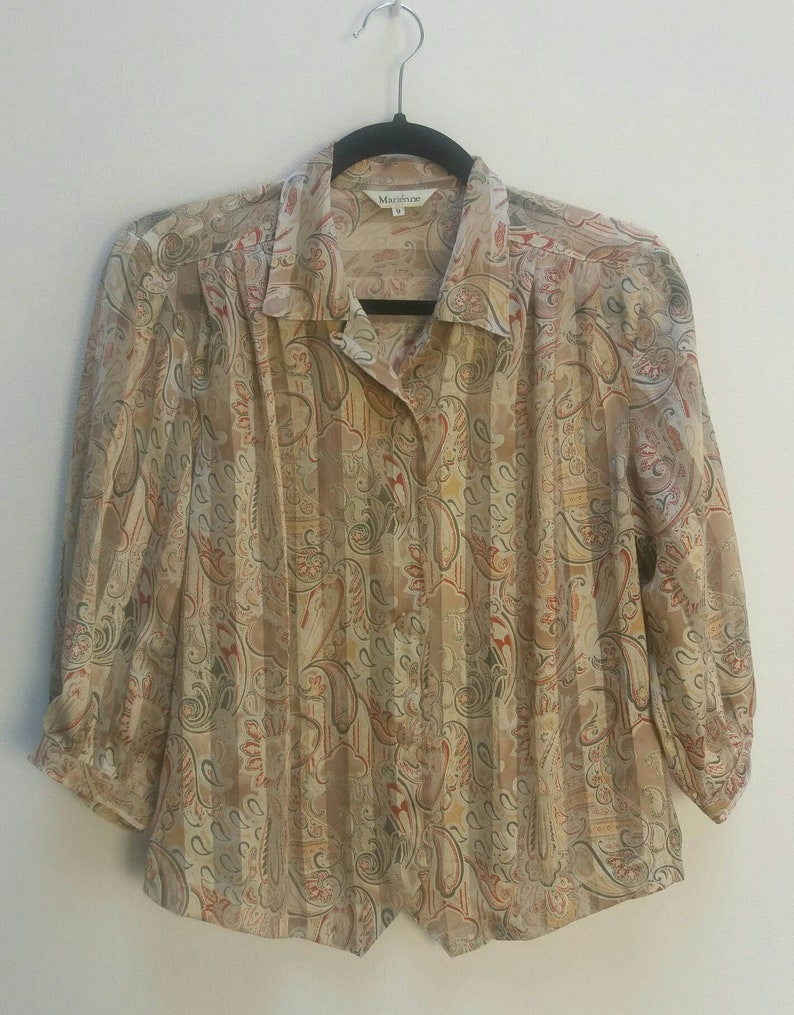 Paisley Blouse Sheer Vintage See Through Top Stripe Shirt Women/'s Vintage Paisley Top Sheer Blouse Striped Pattern Button Up Paisley Blouse