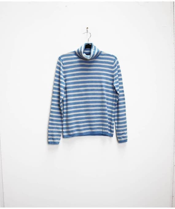 70/'s Blue Striped Chevron Knitted pullover Sports Top Size Medium Vintage 1970/'s Blue Preppy Sporty Short Sleeve Sweater top