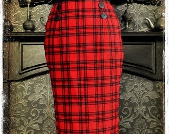d78985028d Nasty Nancy Tartan Plaid Punk Rock Pinup Horror Gore Girl Hobble Pencil  Skirt by House of Goth