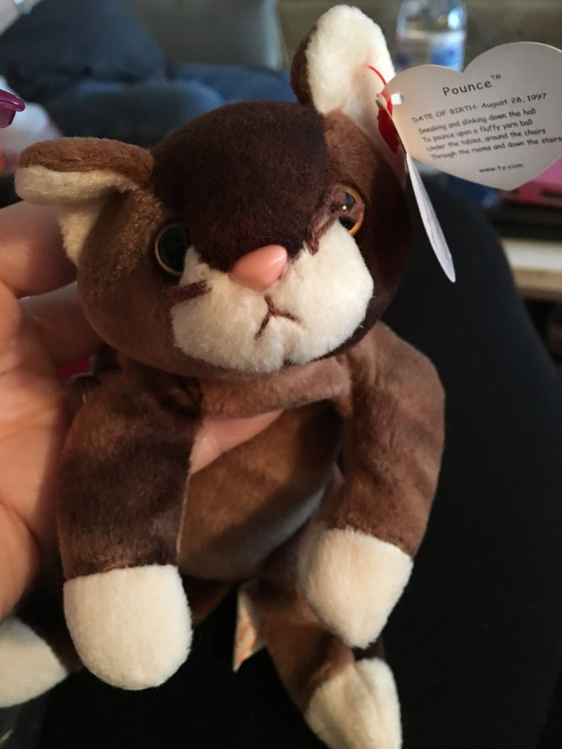 c466a0e7cc0 Rare New Beanie Babies TY POUNCE cat w wrong name PUFFER 6