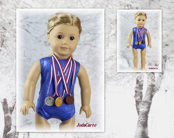 """Set of Four Award Medals with Red, White & Blue Striped Ribbon - 2 for 14"""" doll and 2 for 18"""" doll"""