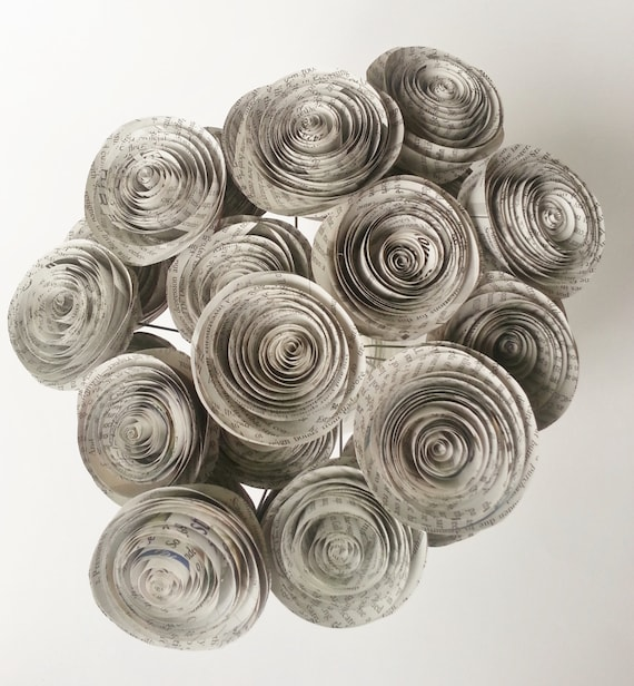 Paper flower bouquet newspaper flowers handmade rolled etsy image 0 mightylinksfo