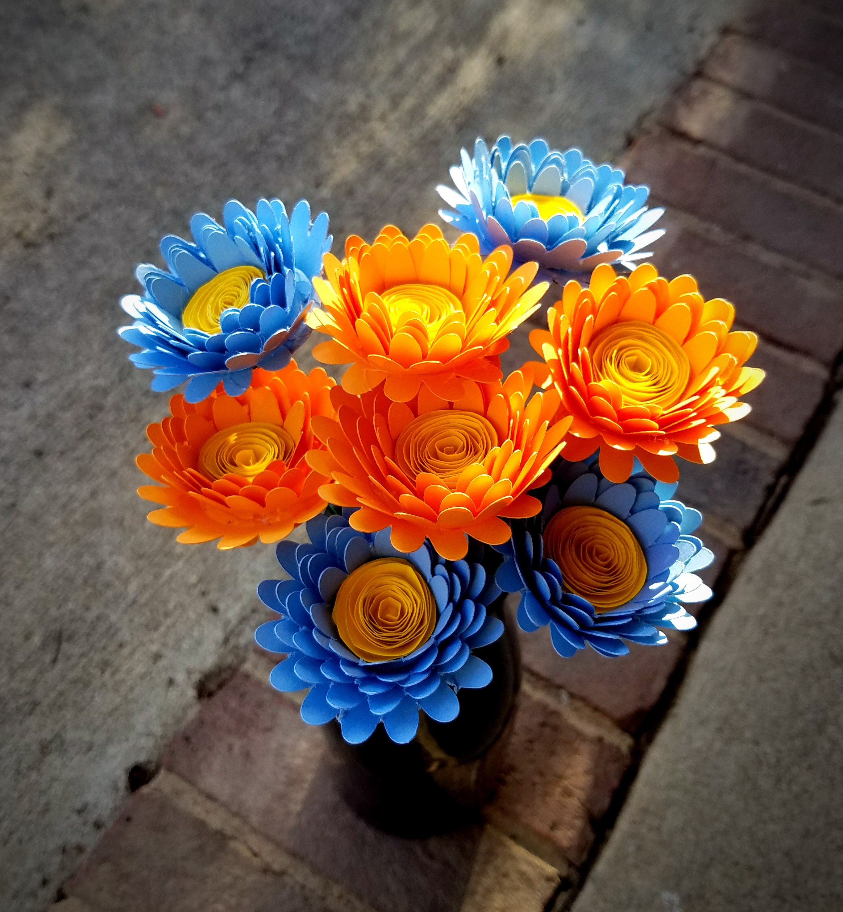Paper flower bouquet 8 bright orange and baby blue daisies etsy zoom izmirmasajfo