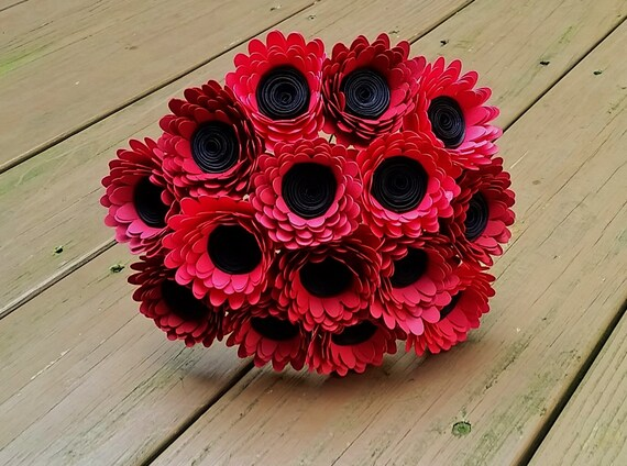 Paper Flower Bouquet 15 Red Daisy Paper Flowers Handmade Etsy