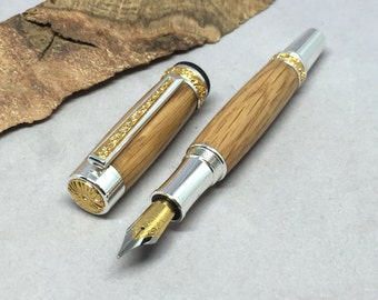 Bourbon Barrel Cambridge Fountain Pen, made from Four Roses, includes gift box