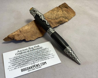 Ancient Bog Oak Dragon Pen - made from 6,000 year old oak, with certificate of authenticity