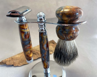 Classic shaving razor, badger hair brush and stand, made from molten metal acrylic