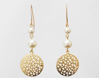 Gold filigree Swarovski pearl earrings - bridal earrings - long earrings - dangle earrings - gift for her - bridesmaid earrings
