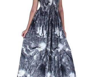 WomenLand : Women Floor Length Flattering Draped Wide Skirt Maxi Dress Wedding Guests Evening Casual Cocktail Party Dresses Artistic Prints