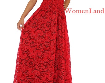WomenLand: Women Plus Size RED Lace Clothing Bridal Wedding Cocktail Party Bridesmaids Long Maxi Prom Elegant Gown Dress XL 1X 2X 3X 4X