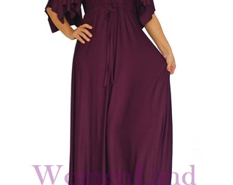 WomenLand : Handmade Sexy Deep V Neck Empire Waist Classic Handkerchief Sleeve Gown Cocktail Party Women Bridesmaids Dresses Vintage Designs