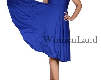 WomenLand : Custom Handmade Deep V Neck Wide Skirt Short Cocktail Party Wedding Bridesmaids Women High Waistline Knee Length Bespoke Dress