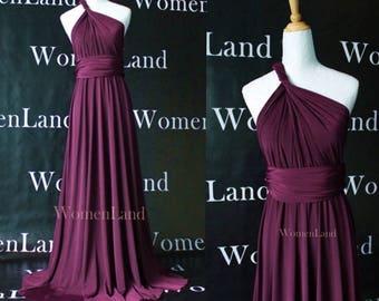 Dark Purple Handmade Floor Length Women Bespoke Infinity Style Wrap Dress Wedding Bridal Party Bridesmaids Evening Gown Magic Dress