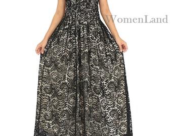 WomenLand: Women Clothing Plus Size Bridal Wedding Cocktail Party Bridesmaids Black Lace Dress Long Maxi Prom Dresses XL 1X 2X 3X Gown