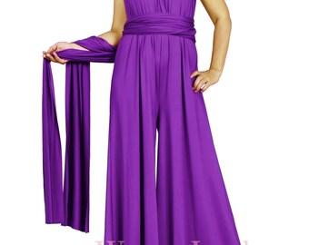 Handmade Infinity Jumpsuit Versatile Convertible Multi Wrap Top Custom Floor Length Wide A Line Pant Dress Bridesmaid Jumpsuits Vintage Look