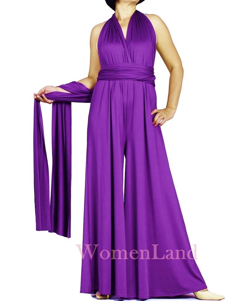 a2cfcbd7f4b Handmade Infinity Jumpsuit Versatile Convertible Multi Wrap Top Custom  Floor Length Wide A Line Pant Dress Bridesmaid Jumpsuits Vintage Look