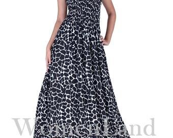 WomenLand : Women Black Floor Length Maxi Dress Flattering Draped Wide Skirt Wedding Bridesmaids Guests Evening Casual Cocktail Party Wear
