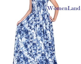 WomenLand : Women Maxi Dress Flare Hemline Flattering Draped Wedding Bridesmaid Party Guests Evening Casual Cocktail Blue Artistic Prints