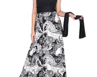 Handmade Floor Length Infinity Wrap Long Ties Bridal Wedding Party Bridesmaid Evening Gown All Season Women Maxi Black Casual Magic Dress