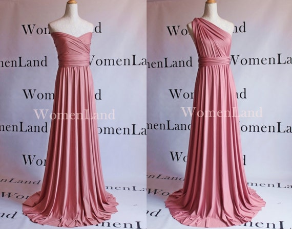 Dusty Pink For Infinity Dress Convertible Wedding Bridal Party Bridesmaid Floor Length Evening Feminine Gown Woman Multi Wrapping Dresses