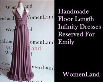 WomenLand : Reserved For Emily Mauve Handmade Floor Length Infinity Convertable Wrapping Dress Wedding Party Bridesmaids Women Dresses