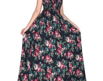 WomenLand : Women Navy Maxi Floor Length Wide Flare Hemline Classic Vintage Rose Spring Wedding Bridal Guests Floral Evening Party Wear