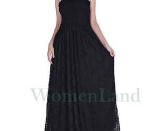 WomenLand: Women Plus Size Black Lace Clothings Bridal Wedding Party Bridesmaids Church Guests Maxi Prom Elegant Gown Dress XL 1X 2X 3X 4X