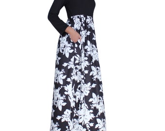 WomenLand Women 3/4 Sleeve Maxi Dress with Pockets Black & Florals Skirt Wedding Bridal Bridesmaids Guests Elegant Evening Wear Casual Party