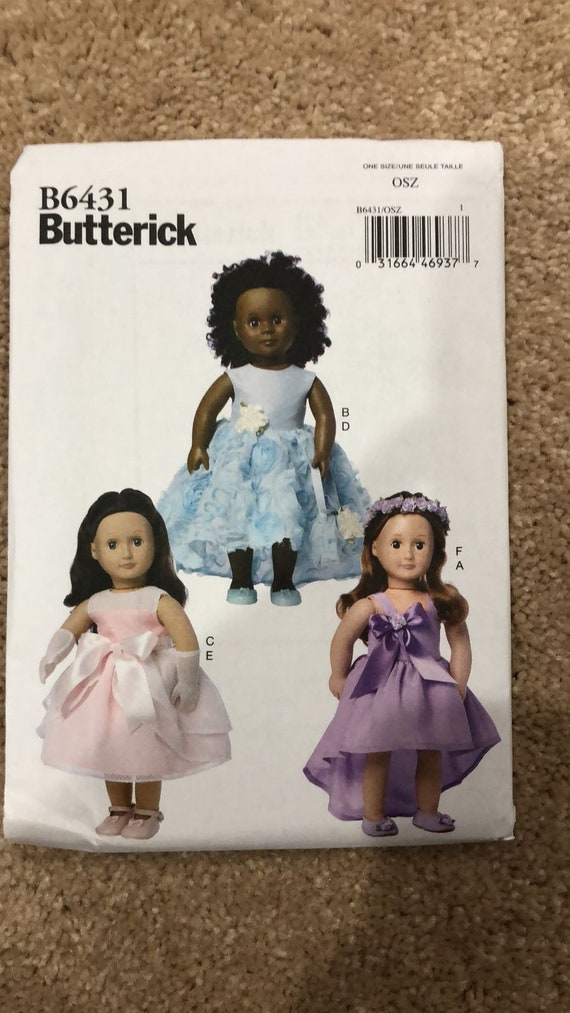 """AND HEADPIECE 18/"""" DOLL Butterick Pattern 6431 SPECIAL OCCASION DRESSES GLOVES"""