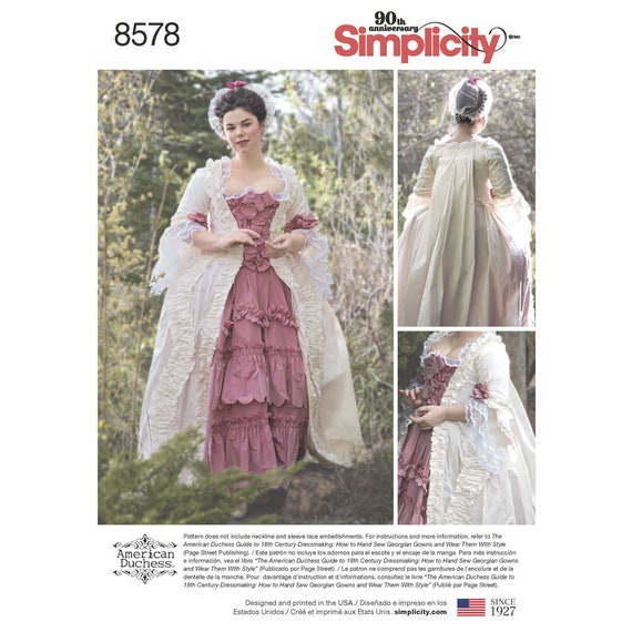 Simplicity Pattern 8578 Misses\' 18th Century Gown | Etsy