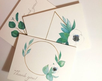 """Anemone and Eucalyptus """"Thank You"""" Card Pack"""