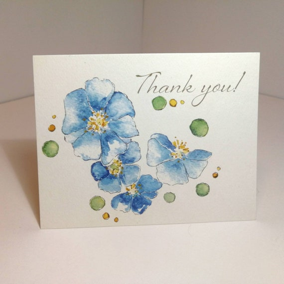 Blue Japanese Anemone Thank you Cards