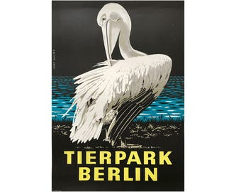 Original Vintage Zoo Poster. Berlin. Germany. Tierpark. Pelican. Advertising Poster. 2017-060