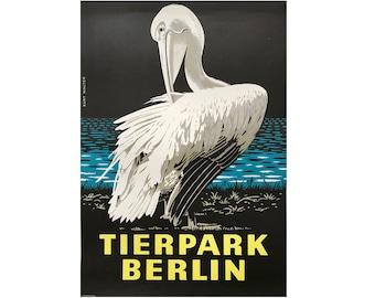 Original Vintage Zoo-Poster. Berlin. Deutschland. Tierpark. Pelikan. Werbeplakat. 2017-060