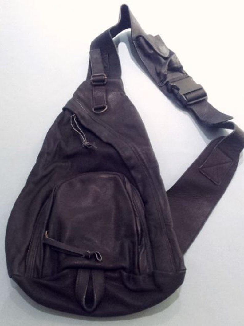 62364c3c17 Leather Man Bag Sling Cross Body Carry All KNIGHT BLACK Fine Leather  Handmade... Make a Statement!